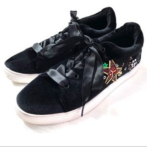 Betsey Johnson Decker Black Velvet Sneakers